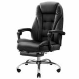 Hbada Bürostuhl Chefsessel Drehstuhl Schreibtischstuhl ergonomischer Computerstuhl Kunstleder mit Fußstütze Schwarz - 1