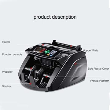HEMFV Banknotenzähler, Bank Note Währung Zähler Zählen Detector Money Fast Banknote Pfund Geldautomat (Schwarz) - 2