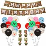 Herefun 71 Pcs Video Game Partyzubehör, Spielliebhaber Geburtstag Dekoration, Miner Gamer Thema Party Dekoration mit Luftballons, Happy Birthday Banner für Kinder Jungen Geburtstagsfeier Spiel - 1