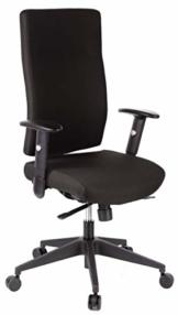 hjh OFFICE 608500 Profi Bürodrehstuhl PRO-TEC 300 Stoff Schwarz Bürosessel ergonomisch, hohe Rückenlehne, Armlehne verstellbar - 1