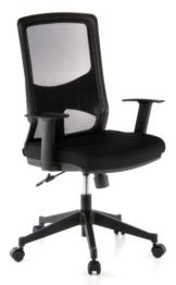 hjh OFFICE 653100 Bürostuhl LAVITA Stoff/Netz Schwarz Drehstuhl ergonomische Rückenlehne, Armlehnen verstellbar - 1
