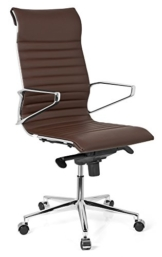 hjh OFFICE 720023 Profi Chefsessel PARIBA I Leder Braun Design-Stuhl Bürostuhl ergonomisch geformt, hohe Rückenlehne - 1