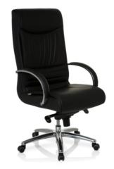 hjh OFFICE Bürostuhl/Chefsessel XXL F 400 Echtleder, Bürostuhl bis 150 kg, schwarz - 1