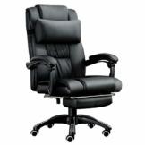 JL Comfurni Chefsessel Bürostuhl Ergonomischer Schreibtischstuhl 360°drehbar Computerstuhl höhenverstellbar Drehstuhl mit Fußstütze aus Kunstleder schwarz - 1