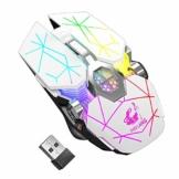 Kabellose Gaming-Maus, RGB, mehrfarbig, wiederaufladbar, leise, Computerzubehör, für zu Hause, Büro, Spiele, 7 Tasten, mehrere Funktionen (Weiß) - 1