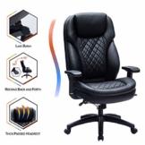 Kasorix Ergonomischer Chefsessel mit Einstellbare Kopfstütze Armlehnen Bürostuhl schreibtischstuhl mit Wippfunktion Computerstuhl bis zu 250 KGS arretierbarer Neigungswinkel bis 120°(schwarz-9107) - 1