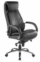 Kijng Chefsessel Throne - Schwarz Echtes Leder mit Hartbodenrollen Ergonomischer Bürostuhl Schreibtischstuhl Drehstuhl Sessel Stuhl - 1
