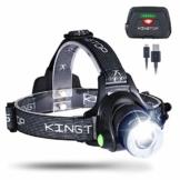 KINGTOP LED Stirnlampe Wasserdicht USB Wiederaufladbare LED Kopflampe, 3 Lichtmodi 600lm, Perfekt für Camping,Joggen, Spazieren und andere Outdoor Sport - 1