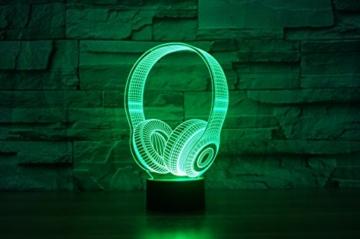 Kopfhörer Hologramm 3d Lampe Nachttischlampe, Nachtlicht fürs Kinderzimmer, LED Lampe fürs Wohnzimmer - 2