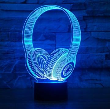 Kopfhörer Hologramm 3d Lampe Nachttischlampe, Nachtlicht fürs Kinderzimmer, LED Lampe fürs Wohnzimmer - 1