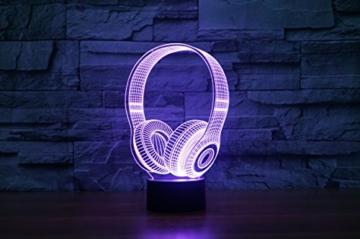 Kopfhörer Hologramm 3d Lampe Nachttischlampe, Nachtlicht fürs Kinderzimmer, LED Lampe fürs Wohnzimmer - 5