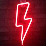 LED Lightning Form Neon Sign Licht Kunst dekorative Lichter Wand Dekor für Baby Zimmer Weihnachten Hochzeit Party Supplies (rotes Licht) - 1