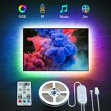LED TV Hintergrundbeleuchtung, Govee 3M USB LED Strip Lichtband mit Fernbedienung für 46-60 Zoll LED Beleuchtung Fernseher, 32 Farben 7 Szenen-Modi Stimmungsbeleuchtung LED Streifen, MEHRWEG - 1