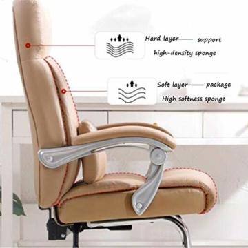 Leder Boss Chair, Chrom Basis Bow Chair, Bionic Ergonomics, 150°Liege, Fünf-Punkt-Unterstützung/beruhigender Gegendruck, hohe Tragfähigkeit - 4