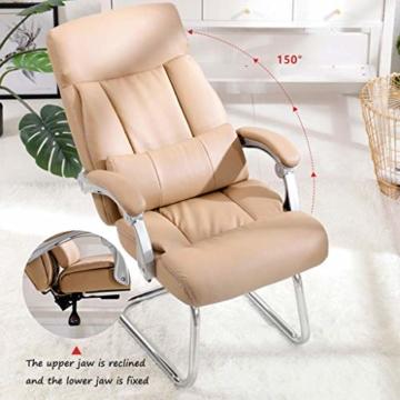 Leder Boss Chair, Chrom Basis Bow Chair, Bionic Ergonomics, 150°Liege, Fünf-Punkt-Unterstützung/beruhigender Gegendruck, hohe Tragfähigkeit - 6