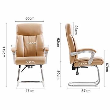 Leder Boss Chair, Chrom Basis Bow Chair, Bionic Ergonomics, 150°Liege, Fünf-Punkt-Unterstützung/beruhigender Gegendruck, hohe Tragfähigkeit - 7