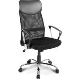 Merax Bürostuhl Drehstuhl Schreibtischstühle Ergonomischer Design Chefsessel mit Kopfstütze, Netzrückenlehne/Wippfunktion (Schwarz) - 1