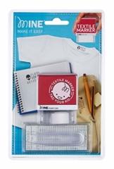 Mine Textilstempel Set, zum einfachen Beschriften und Kennzeichnen von Kleidung und anderen Textilien, wasserfest, mit Stempelkissen, Buchstaben, Pinzette und Thermo-Textilband - 1