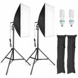 MVPower® Softbox Fotolampe Studioset mit Höhestellbare Lampenstativ 50 x 70 cm, 135W Set-2 für Fotostudio, Produktfotografie und Videoaufnahme - 1