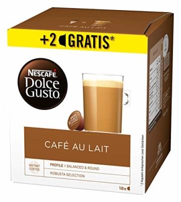 NESCAFÉ Dolce Gusto Café au Lait 54 Kaffeekapseln (ausgewählte Robusta Bohnen, Leichter Kaffeegenuss mit cremigem Milchschaum, Aromaversiegelte Kapseln) 3er Pack (3 x 16 + 2 Kapseln) - 2