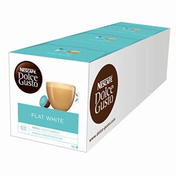 NESCAFÉ Dolce Gusto Flat White | 48 Kaffeekapseln | Arabica und Robusta Bohnen | Cremig-Milchiger Genuss | Kaffeekreation | Coffee-Shop Trend | Aromaversiegelte Kapseln (3 x 16 Kapseln) - 1