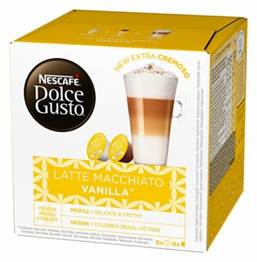 NESCAFÉ Dolce Gusto Latte Macchiato Vanilla   48 Kaffeekapseln   Feines Vanille Aroma und leckerer Milchschaum   Arabica Robusta Mischung   Aromaversiegelte Kapseln   3er Pack (3 x 16 Kapseln) - 2