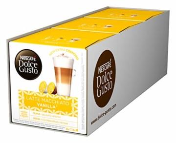 NESCAFÉ Dolce Gusto Latte Macchiato Vanilla   48 Kaffeekapseln   Feines Vanille Aroma und leckerer Milchschaum   Arabica Robusta Mischung   Aromaversiegelte Kapseln   3er Pack (3 x 16 Kapseln) - 1