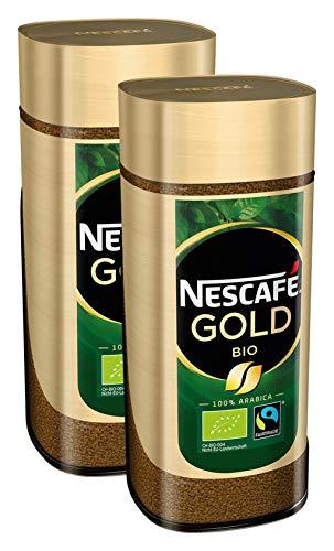 NESCAFÉ GOLD Bio, löslicher Bohnenkaffee aus 100% Arabica Kaffeebohnen, fair gehandelt, biologischer Anbau, koffeinhaltig, 2er Pack (2x100g) - 1