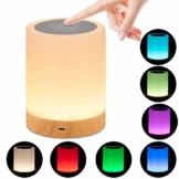 omitium Nachttischlampe, LED Nachtlampe mit Dimmer 360° Berührungssensor USB Aufladbar Tragbare 16 Farben Tischleuchte für Kinder Schlaf Zimmer Camping (Warmweiß) - 1