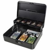 Parrency Große Geldkassette mit Geldfach, Sicherheitsverschluss, freitragendes Münzfach, 3 Bills/5 Münzen Large Schwarz - 1