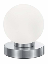 Reality Kugellampe Tischleuchte, TouchMe Dimmer, Nickel matt ~ weiß - 1