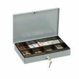 Relaxdays Abschließbare Geldkassette, Flache Kasse mit Münzfach, 2 Schlüssel, Geldzählkassette HxBxT: 5x30x20 cm, grau - 1