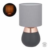 Relaxdays Nachttischlampe Touch dimmbar, moderne Touch Lampe, 3 Stufen, E14, Tischlampe, HxD: 32,5 x 18 cm, grau-kupfer - 1