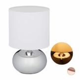 Relaxdays Nachttischlampe Touch dimmbar, moderne Touch Lampe mit 3 Stufen, E14, Tischlampe mit Kabel, 28 x 18 cm, silber - 1