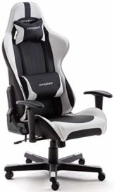 Robas Lund DX Racer 6 OH/FD32/NW Gaming Stuhl XXl für Große Gamer bestens geeignet, mit Wippfunktion Gamer Stuhl Höhenverstellbarer Drehstuhl PC Stuhl Ergonomischer Chefsessel, schwarz-weiß - 1