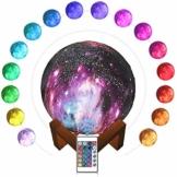SaponinTree 15cm LED Mond Lampe mit Fernbedienung, 3D Mond Kunst LED RGB Mondlicht Tragbares Nachtlicht mit USB Aufladung, 16 Lichtfarben Wechsel - 1