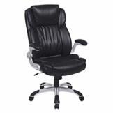 SONGMICS Bürostuhl, Chefsessel, Drehstuhl, breite Sitzschale mit Federkern, doppelt verdicktes Polster, hohe Rückenlehne, klappbare Armlehnen, mit Wippfunktion, Bezug aus PU Leder, schwarz, OBG94BK - 1
