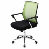 SONGMICS Bürostuhl mit Netzbezug, höhenverstellbarer Chefsessel, Schreibtischstuhl mit Wippfunktion, Drehstuhl mit gepolsterter Sitzfläche, Stahlgestell, verchromt, 150 kg, grün-schwarz, OBN83GN - 1