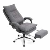 SONGMICS Chefsessel, ergonomischer Bürostuhl mit Fußstütze, Schreibtischstuhl, verstellbare Rückenlehne, bis zu 150 kg belastbar, Leinen, grau OBG78GY - 1