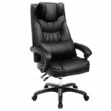 SONGMICS Erstellt, Bürostuhl mit klappbarer Kopfstütze extra großer orthopädischer Chefsessel ergonomischer Schreibtischstuhl schwarz, OBG76B - 1