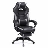 SONGMICS Gamingstuhl, Bürostuhl mit Fußstütze, Schreibtischstuhl, ergonomisches Design, verstellbare Kopfstütze, Lendenstütze, bis zu 150 kg belastbar, Schwarz-Grau, OBG77BG - 1