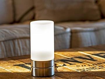 Tischleuchte mit TOUCH Dimmer in dezentem DESIGN - Glasschirm Opal Weiß & Sockel Nickel matt – Neue TOUCH Generation geeignet für LED - 2