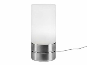 Tischleuchte mit TOUCH Dimmer in dezentem DESIGN - Glasschirm Opal Weiß & Sockel Nickel matt – Neue TOUCH Generation geeignet für LED - 1