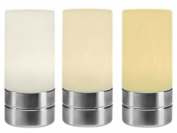 Tischleuchte mit TOUCH Dimmer in dezentem DESIGN - Glasschirm Opal Weiß & Sockel Nickel matt – Neue TOUCH Generation geeignet für LED - 5