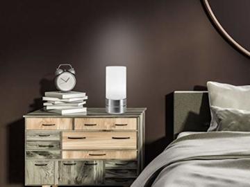 Tischleuchte mit TOUCH Dimmer in dezentem DESIGN - Glasschirm Opal Weiß & Sockel Nickel matt – Neue TOUCH Generation geeignet für LED - 7