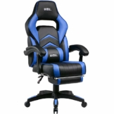 Umi. by Amazon - Gaming Stuhl Bürostuhl Schreibtischstuhl mit Armlehne Gamer Stuhl Drehstuhl Höhenverstellbarer Gaming Sessel PC Stuhl Ergonomisches Chefsessel mit Fußstützen Blau - 1