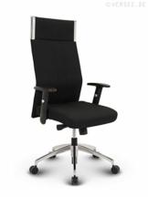 VERSEE Profi Bürostuhl Chefsessel Black-Line - Stoff - Schwarz - Drehstuhl Bürodrehstuhl + hochwertige Verarbeitung + massives Metall-Gestell + Aluminiumfußkreuz poliert 150 kg belastbar - 1
