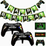 Videospiel-Partyzubehör, Happy Birthday Gaming Banner & 2-teiliges Spiel auf Controller-Aluminiumfolien-Luftballons & Willkommens-Hängedekor, Partydekorationen für Kinder-Jungen-Party - 1