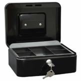 Wedo 145221X Geldkassette (aus pulverbeschichtetem Stahl, versenkbarer Griff, 5-Fächer-Münzeinsatz, Sicherheits-Zylinderschloss, 20 x 16 x 9 cm) schwarz - 1
