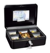 Wedo 145321H Geldkassette (aus pulverbeschichtetem Stahl, versenkbarer Griff, Geldnoten- und Belegeklammer, 5-Fächer-Münzeinsatz, Sicherheits-Zylinderschloss, 25 x 18 x 9 cm) schwarz - 1